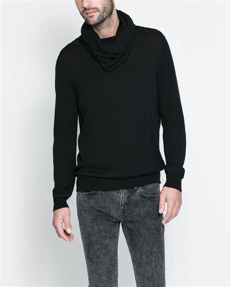 drape neck sweater zara drape neck sweater in black for men lyst