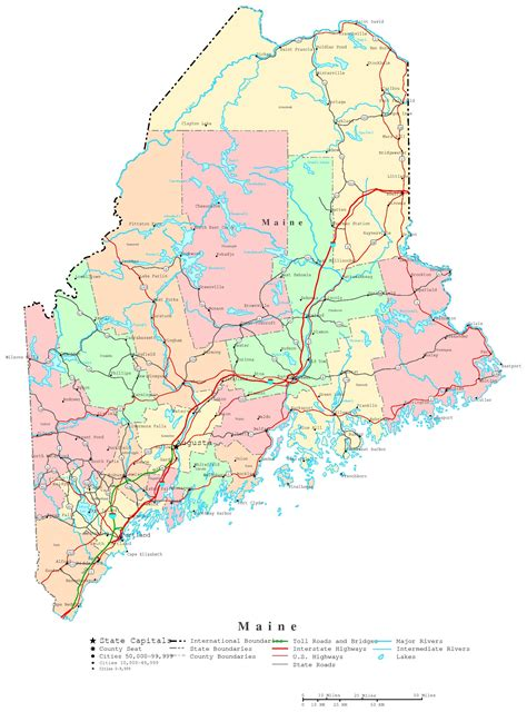 maine county map maine printable map
