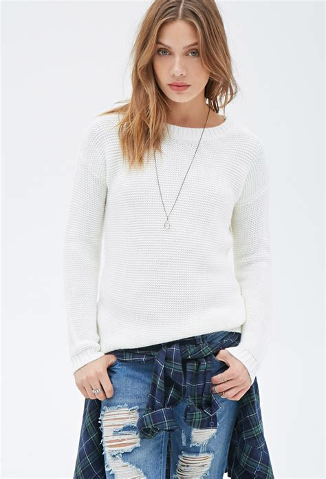 Cardigan 112226001 White Knitted forever 21 waffle knit sweater in white lyst