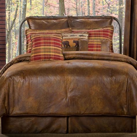 gatlinburg rustic faux leather comforter bedding