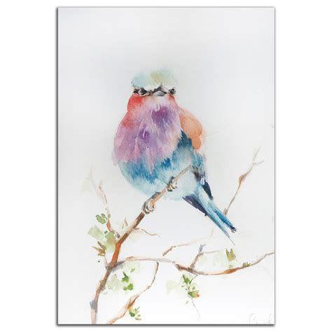 Home Decor Application by Colorful Bird Art Lilac Bird Modern Watercolor Rainbow