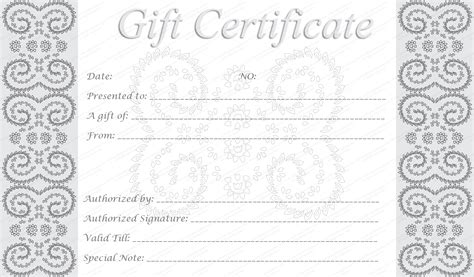 Downloadable Gift Certificate Template by Editable And Printable Silver Swirls Gift Certificate Template