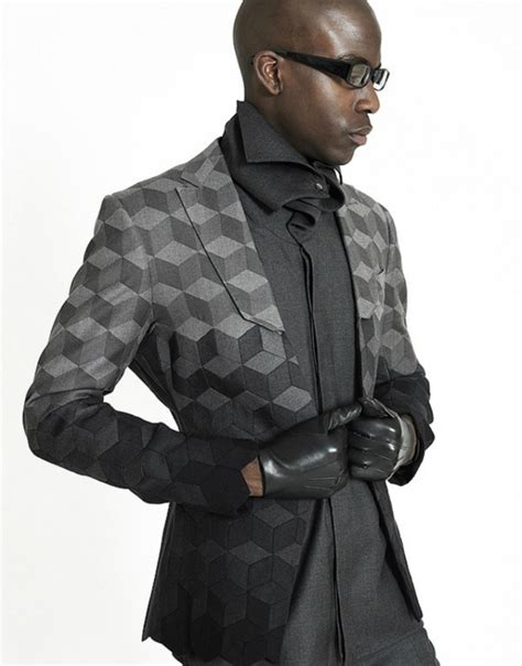 traditional suits get a futuristic geometric makeover