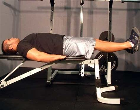flat bench leg pull in crunch crunches and back exercises
