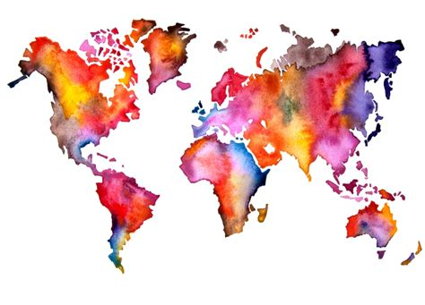 world map watercolor painting by artollo