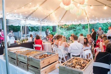 Backyard wedding catering / buffet with custom wooden