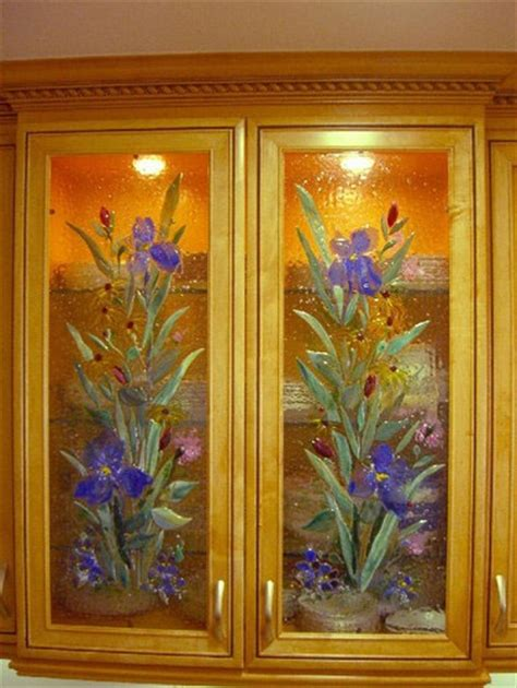 Kitchen Cabinet Panels With Fused Glass Fused Glass Painting Glass Panel Doors