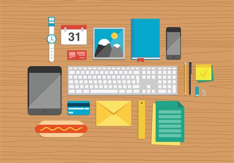 Desk Top by Photodune 6171826 Office Elements On Desktop Illustration