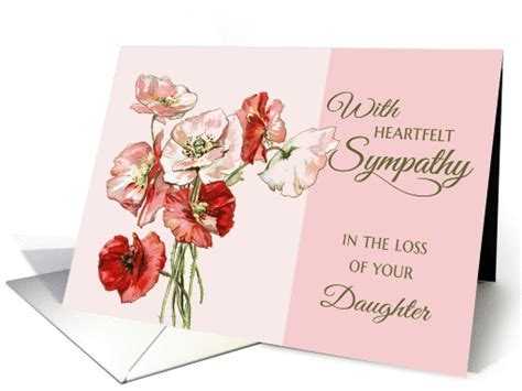 Loss of Daughter Heartfelt Sympathy pink vintage flowers card