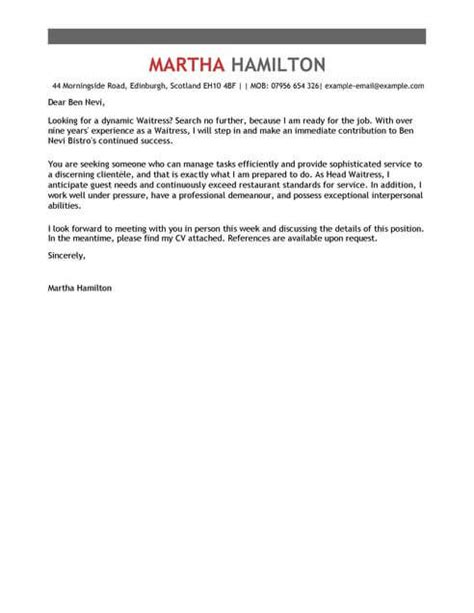 waitress cover letter template cover letter templates