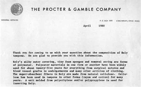 cover letter for p g procter gamble letter about rely ton to a customer