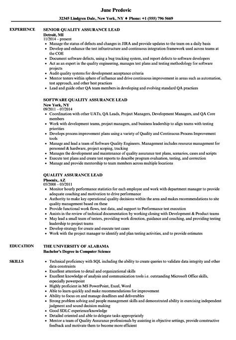 Qa Lead Resume by Dorable Qa Lead Resume Exle Illustration Exle