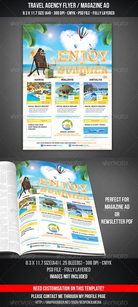 Travel Agency Flyer Magazine Ad By Redpencilmedia Graphicriver Travel Flyer Template Free