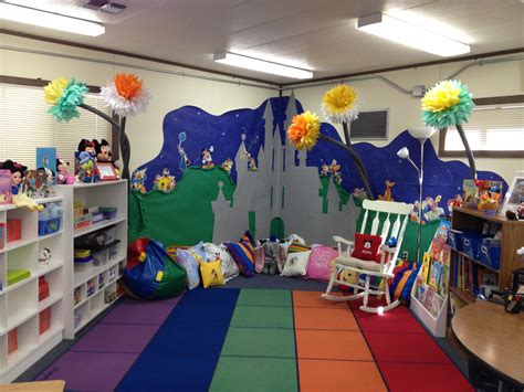 the reading center of the classroom all the disney characters on the wall are vintage and come