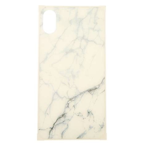 white marble square phone case fits iphone xr icing