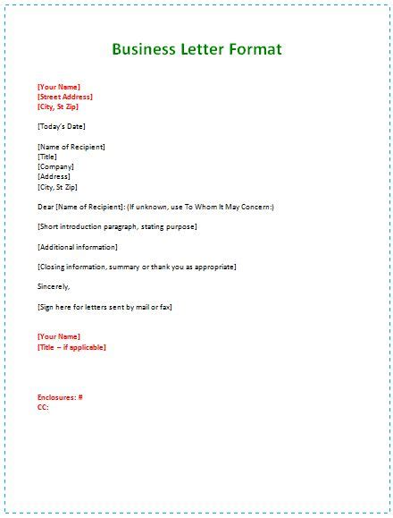 Business Letter Format For Small business letter format exle pcs