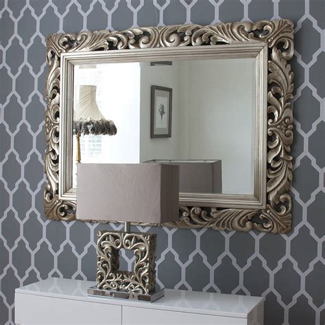 Decorated Mirrors by Carved Wood Gilt Silver Mirror By Decorative Mirrors