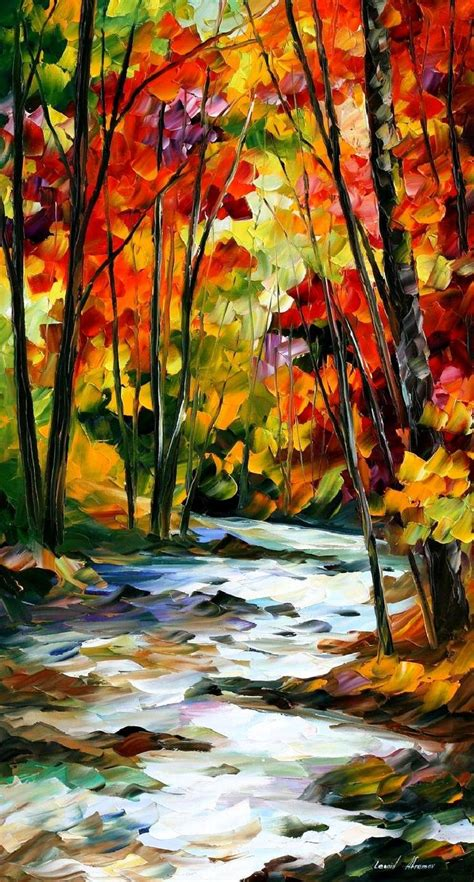 palette painting highlights swirling stream palette knife oil painting on canvas by
