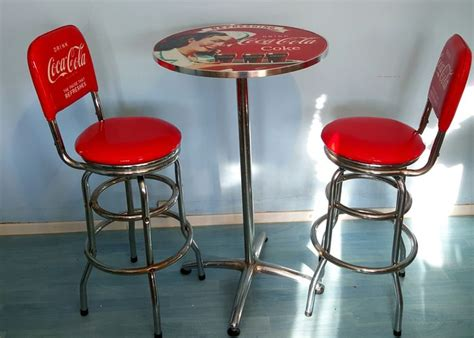 Coca Cola Pub Table And Stools by Authentic Coca Cola Pub Set Quot Of Two Stools With Table