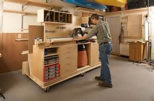 Garage Workshop Design by Lumber Storage And Miter Station Mitre Saw Station