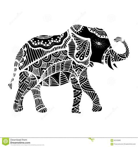 indian elephant doodle black indian elephant stock vector illustration of