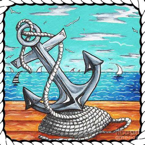 nautical painting coastal nautical decorative art original painting anchor