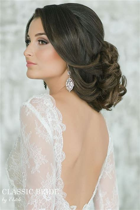 bridal hairstyles open hair wedding updo and open back long sleeves wedding dress