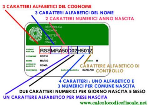 codice fiscale significato lettere come ricavare il codice fiscale risorseinrete net