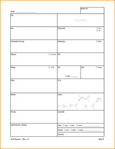 new template nursing report sheets templates new shift report jpg
