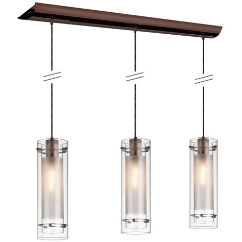 Kitchen Island Lighting Fixtures Shop Dainolite Lighting Stem 35 In W 3 Light Brushed Bronze Kitchen Island Light With Clear