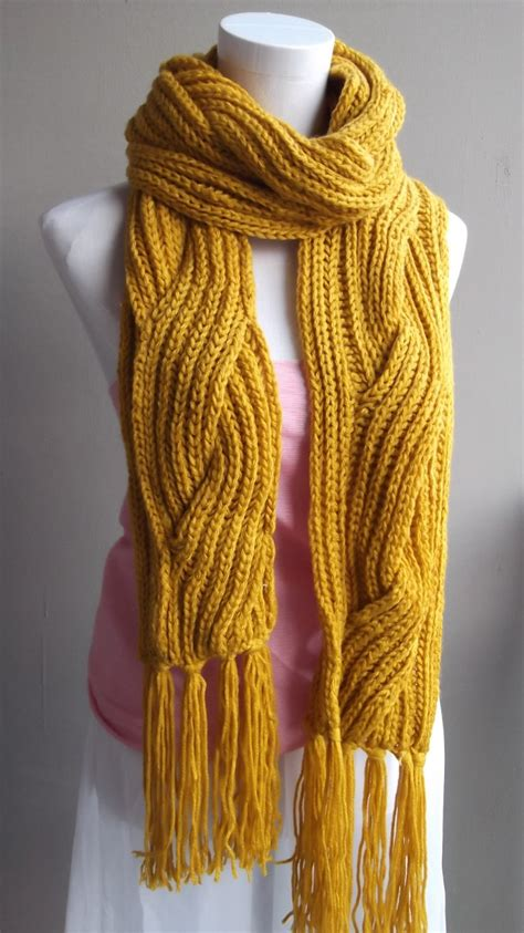 how to knit a scarf left handed knitted yellow winter scarf jpg
