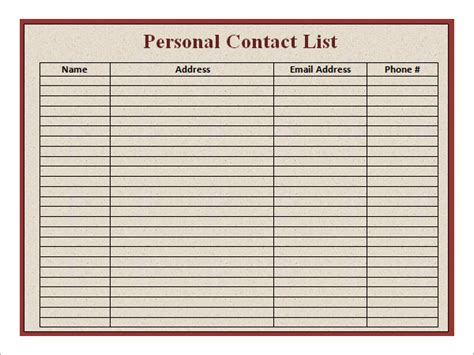 contact list template pdf business contact email list