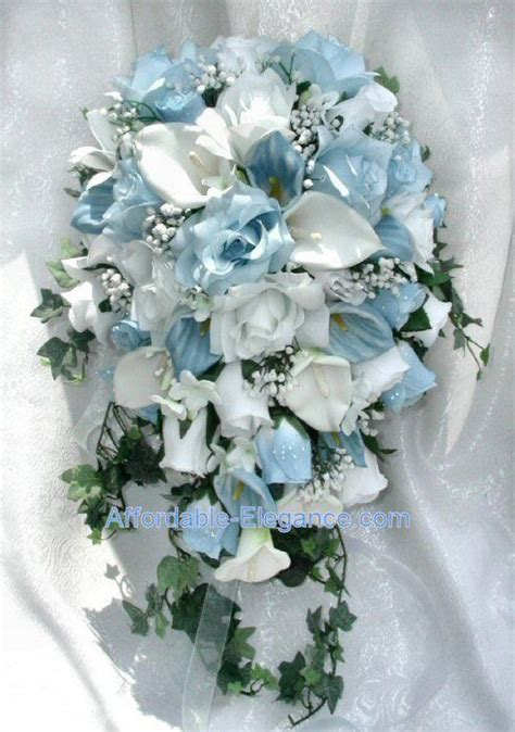light blue and white roses light blue white calla lily roses bridal cascade bouquet
