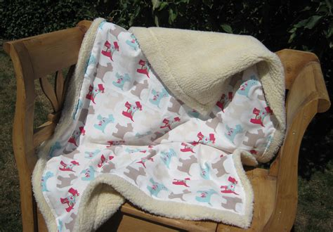 puppy blanket blanket scottie print home made with faux sheep fabric
