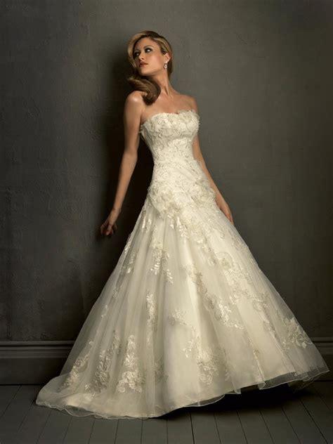 ivory strapless empire waist formal wedding dress prlog