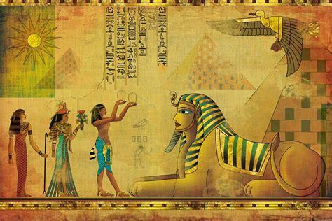 Egyptian Wall Murals egyptian pyramids and phoenix worship vintage wallpaper