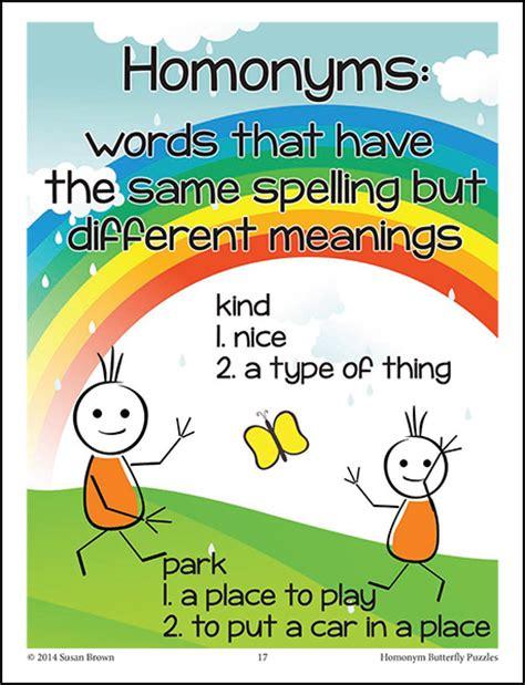 printable homophone poster list of true homonyms