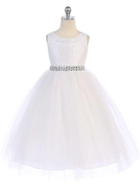 white lace tulle dress w rhinestone belt
