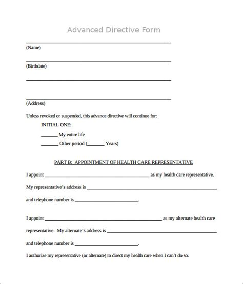 directive template advance directive form 9 free documents in pdf