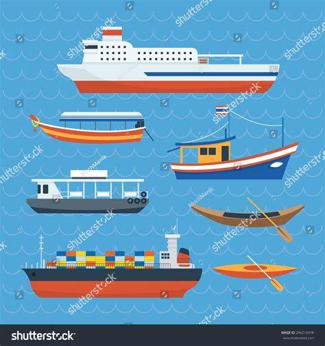 side of a ship or boat various kind ship boat ferry side stock vector 296216978