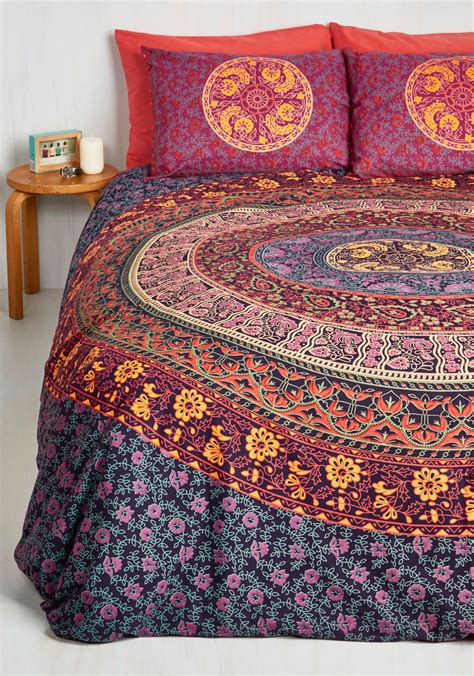 modcloth bedding bohemian bliss duvet cover set in magenta full queen