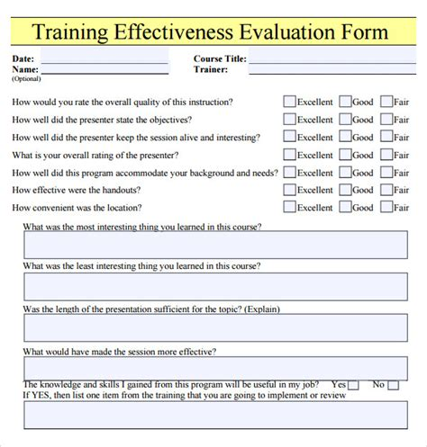 Class Evaluation Form Template Course Or Effectiveness Evaluation Form And