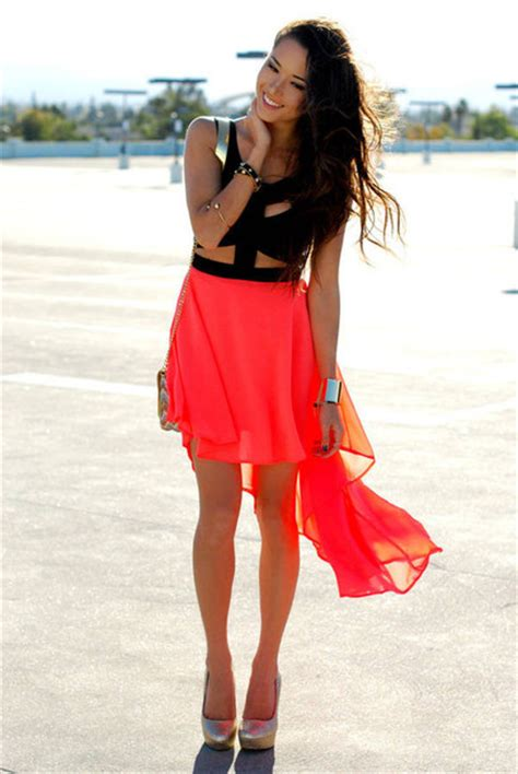 Cut Out Top Blouse Sabrina Casual dress neon cut out high low bag shoes blouse