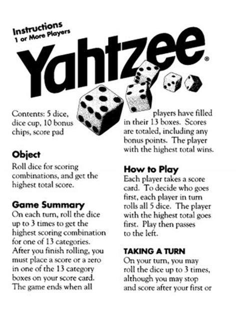printable card game rules here s a set of official yahtzee playing rules from hasbro