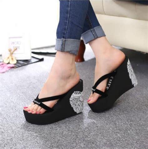 high heel flip flops shoes wedge high heel platform summer travel sandals