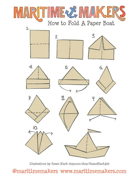 Paper Folding Ship - maritime makers how to fold a paper boat printable