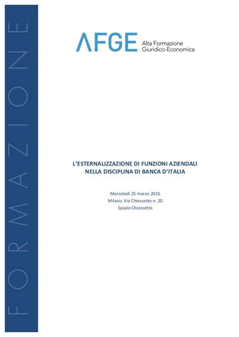 funzioni d italia l esternalizzazione di funzioni aziendali nella disciplina