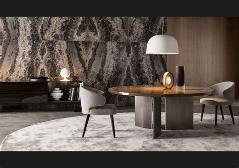 Round Dining Room Table And Chairs by Minotti Miromar Design Center