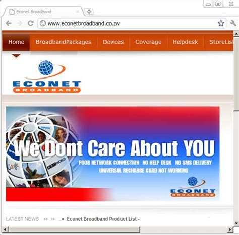 the econet broadband website has been hacked techzim