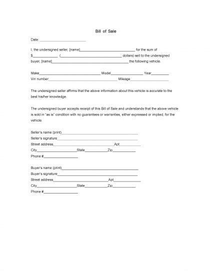 free florida dmv vehicle bill of sale form pdf word doc